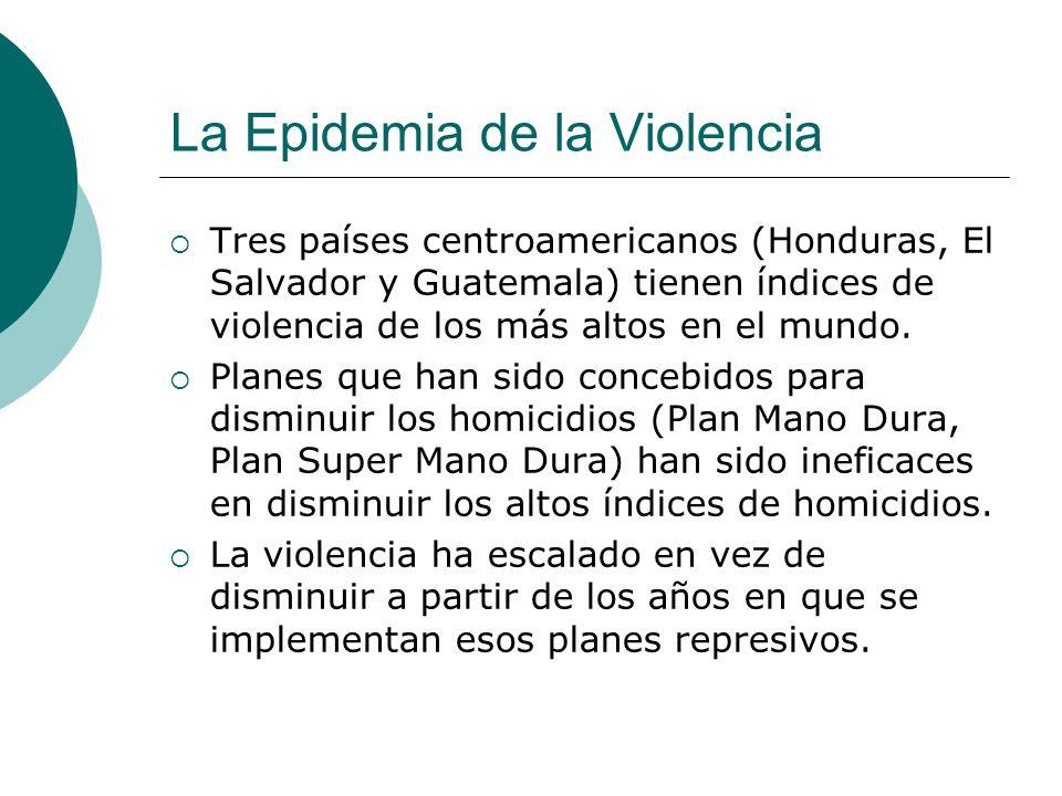 La Epidemia de la Violencia Tres países centroamericanos (Honduras, El Salvador y Guatemala) tienen índices de violencia de los más altos en el mundo.