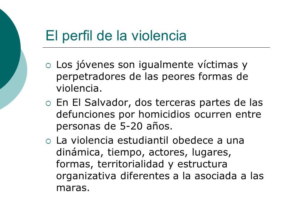 El perfil de la violencia Los jóvenes son igualmente víctimas y perpetradores de las peores formas de violencia.