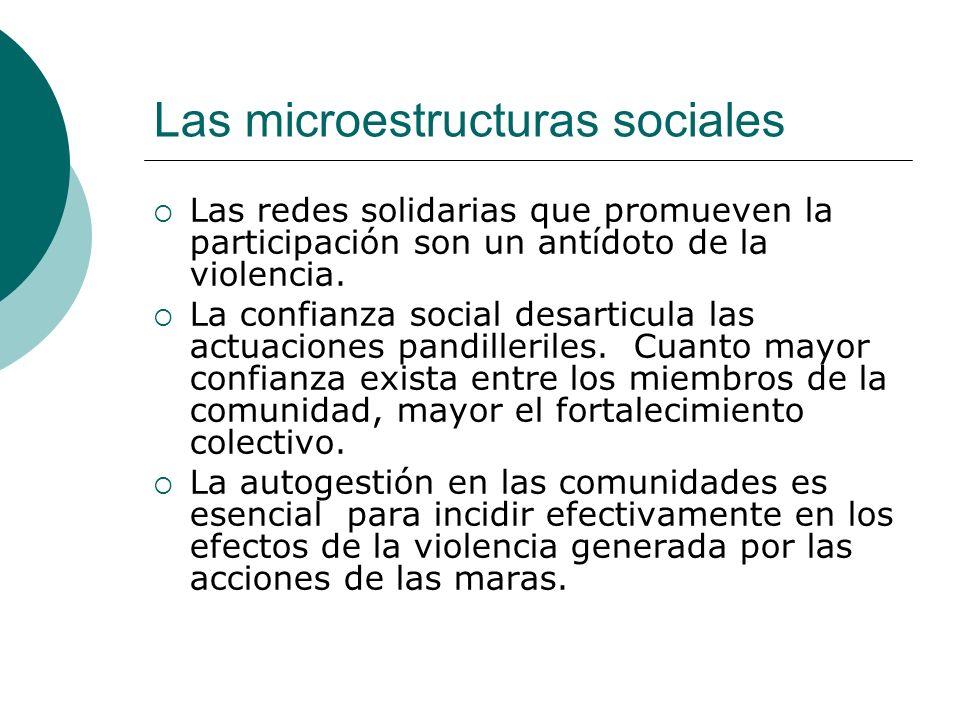 Las microestructuras sociales Las redes solidarias que promueven la participación son un antídoto de la violencia.