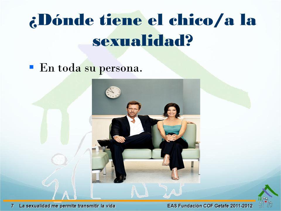 7 EAS Fundación COF Getafe 2011-2012 La sexualidad me permite transmitir la vida ¿Dónde tiene el chico/a la sexualidad? En toda su persona.