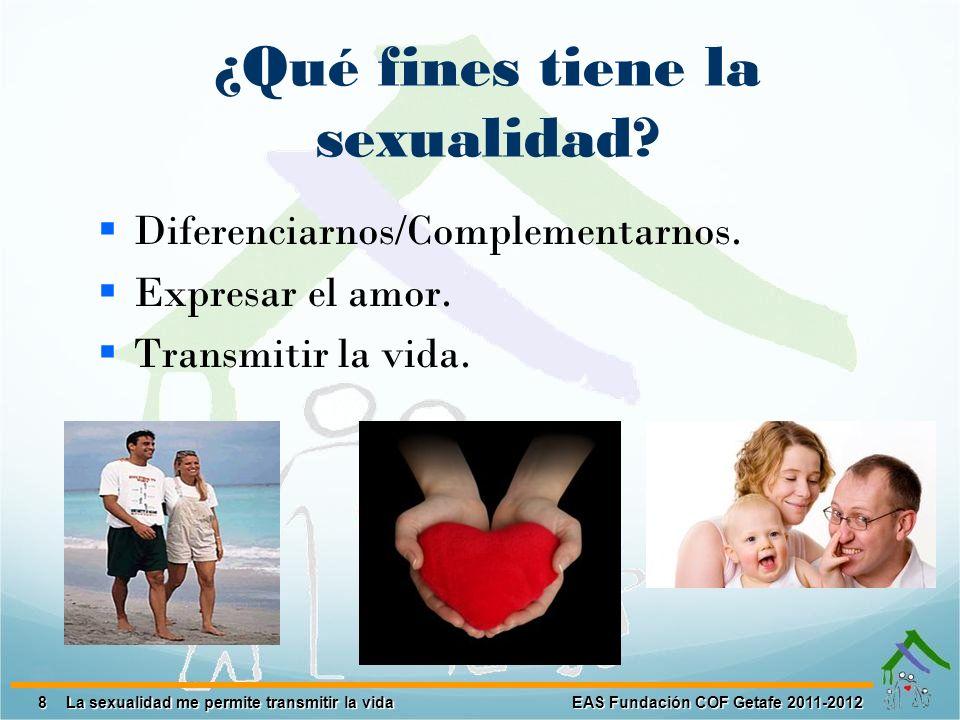 8 EAS Fundación COF Getafe 2011-2012 La sexualidad me permite transmitir la vida ¿Qué fines tiene la sexualidad? Diferenciarnos/Complementarnos. Expre