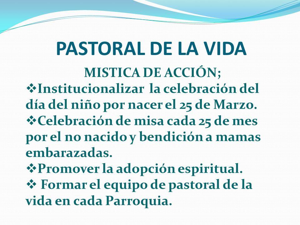 PASTORAL DE LA VIDA MISTICA DE ACCIÓN; Institucionalizar la celebración del día del niño por nacer el 25 de Marzo. Celebración de misa cada 25 de mes