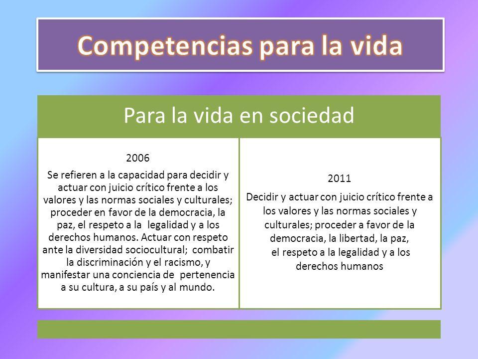 Para la vida en sociedad 2006 Se refieren a la capacidad para decidir y actuar con juicio crítico frente a los valores y las normas sociales y cultura