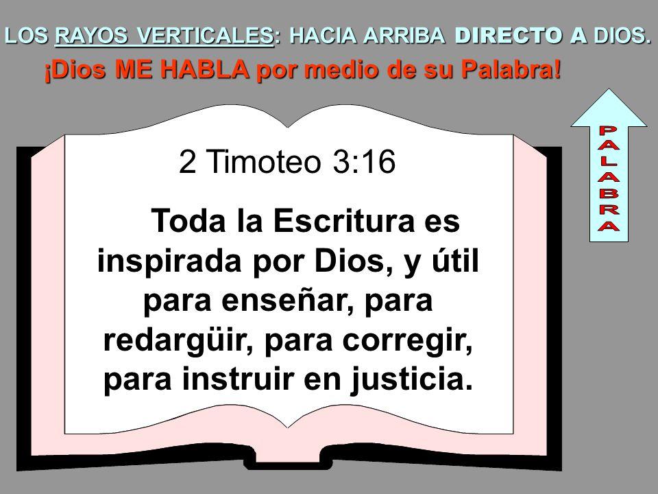 LOS RAYOS VERTICALES: HACIA ARRIBA DIRECTO A DIOS. ¡Dios ME HABLA por medio de su Palabra! 2 Timoteo 3:16 Toda la Escritura es inspirada por Dios, y ú