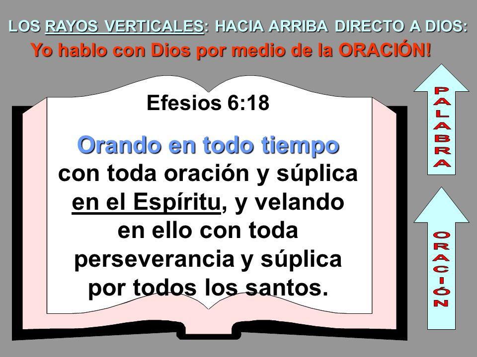 LOS RAYOS VERTICALES: HACIA ARRIBA DIRECTO A DIOS: Yo hablo con Dios por medio de la ORACIÓN! Efesios 6:18 Orando en todo tiempo Orando en todo tiempo