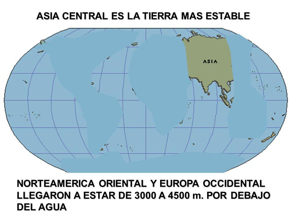 ASIA CENTRAL ES LA TIERRA MAS ESTABLE NORTEAMERICA ORIENTAL Y EUROPA OCCIDENTAL LLEGARON A ESTAR DE 3000 A 4500 m. POR DEBAJO DEL AGUA