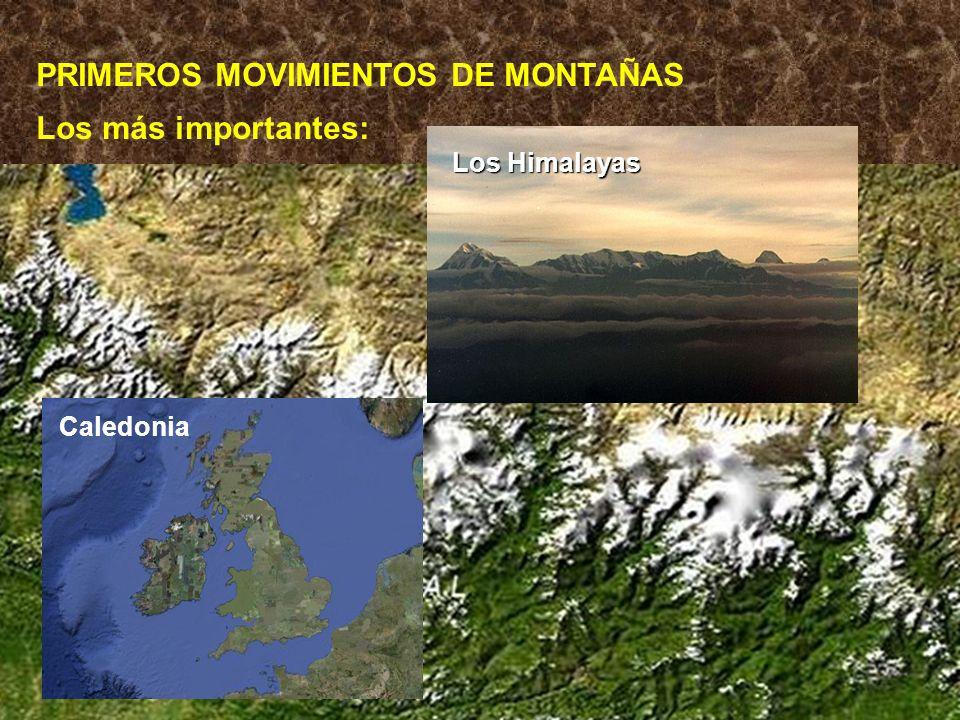 PRIMEROS MOVIMIENTOS DE MONTAÑAS Los más importantes: Los Himalayas Caledonia
