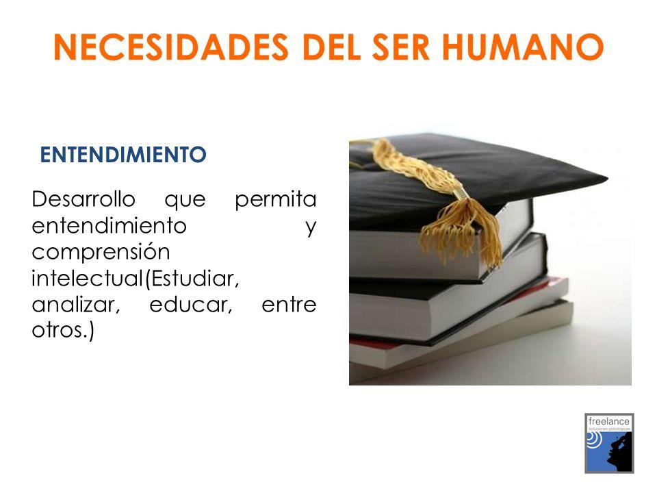 ENTENDIMIENTO Desarrollo que permita entendimiento y comprensión intelectual(Estudiar, analizar, educar, entre otros.) NECESIDADES DEL SER HUMANO