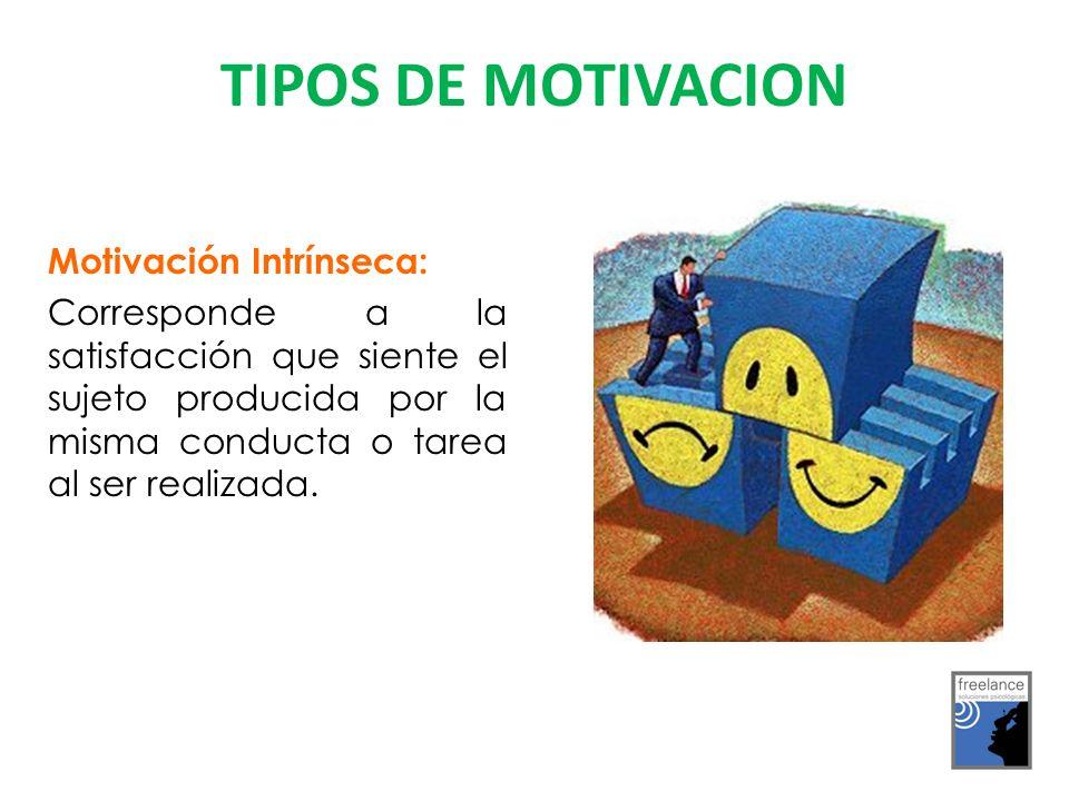 Motivación Intrínseca: Corresponde a la satisfacción que siente el sujeto producida por la misma conducta o tarea al ser realizada.