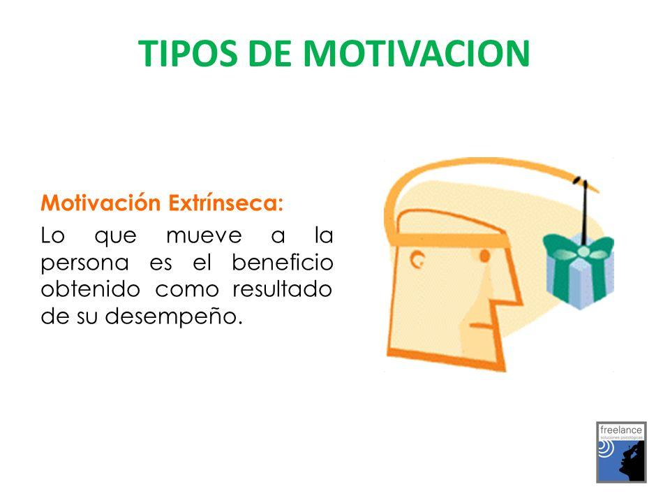 Motivación Extrínseca: Lo que mueve a la persona es el beneficio obtenido como resultado de su desempeño.