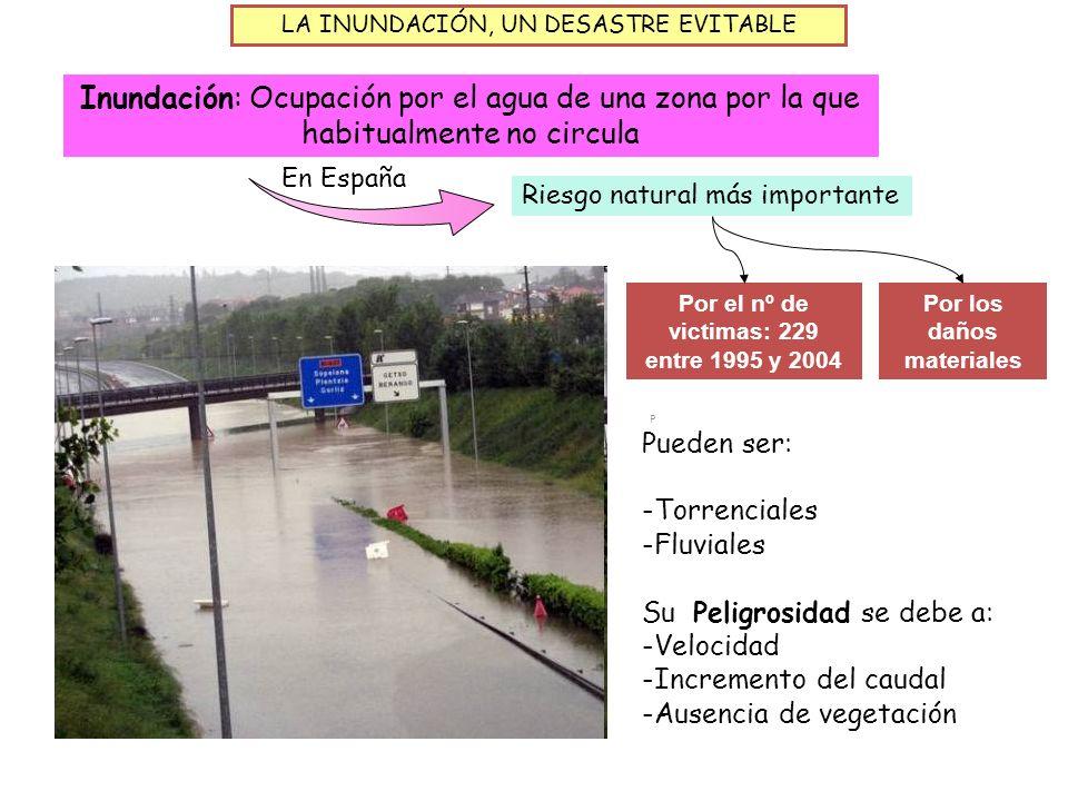 LA INUNDACIÓN, UN DESASTRE EVITABLE Inundación: Ocupación por el agua de una zona por la que habitualmente no circula En España Riesgo natural más imp