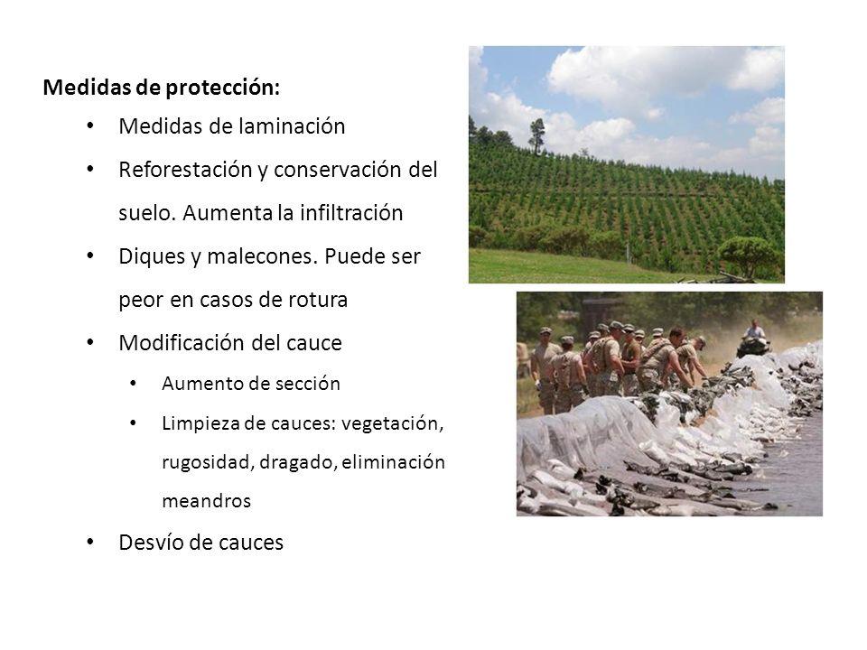 Medidas de protección: Medidas de laminación Reforestación y conservación del suelo. Aumenta la infiltración Diques y malecones. Puede ser peor en cas