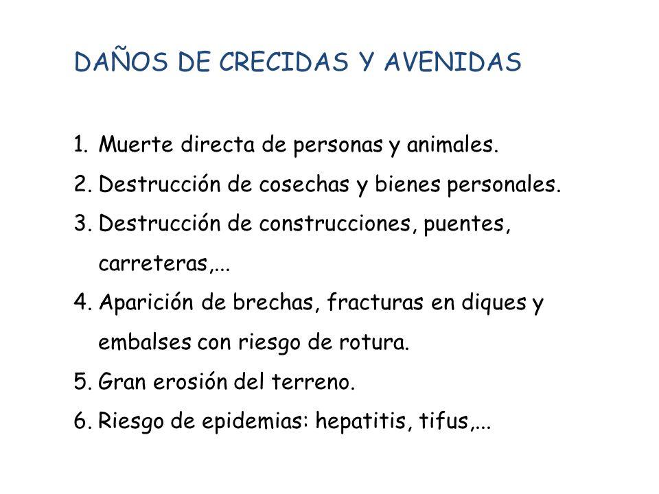 DAÑOS DE CRECIDAS Y AVENIDAS 1.Muerte directa de personas y animales. 2.Destrucción de cosechas y bienes personales. 3.Destrucción de construcciones,