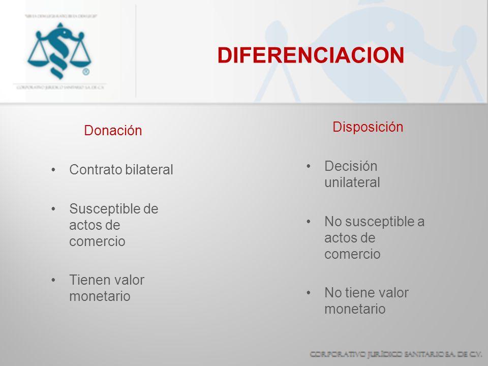DIFERENCIACION Donación Contrato bilateral Susceptible de actos de comercio Tienen valor monetario Disposición Decisión unilateral No susceptible a ac