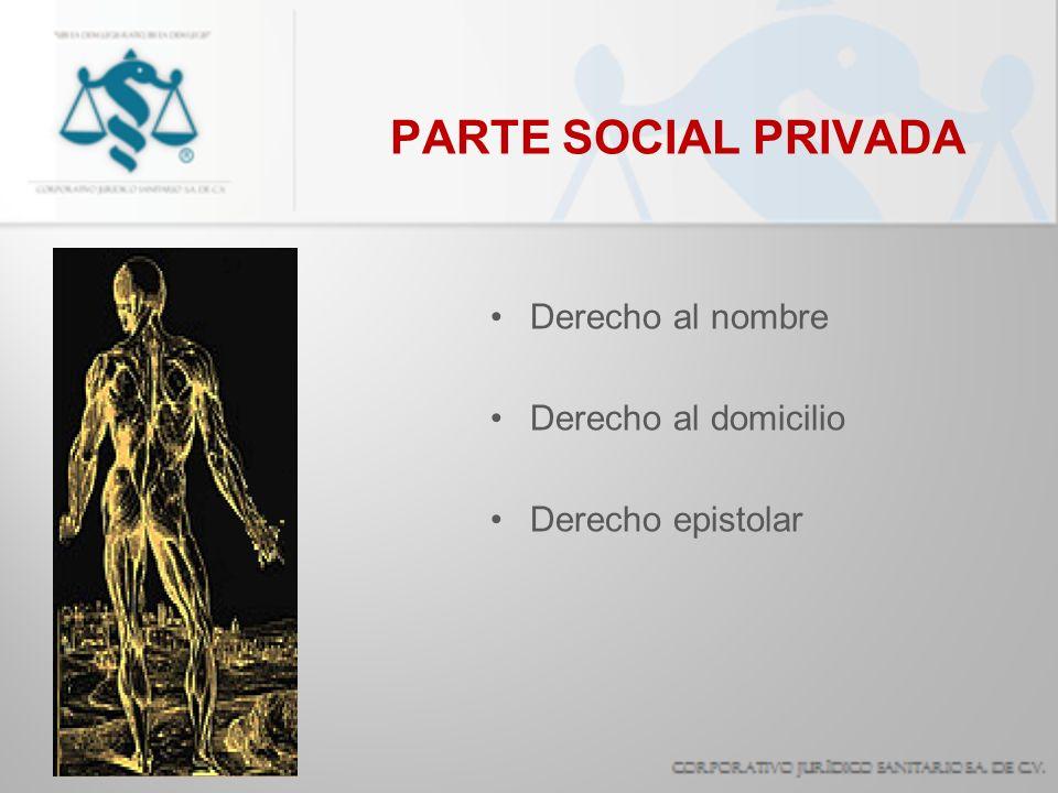 PARTE SOCIAL PUBLICA Derecho a la imagen Derecho a la presencia estética Derecho al matrimonio