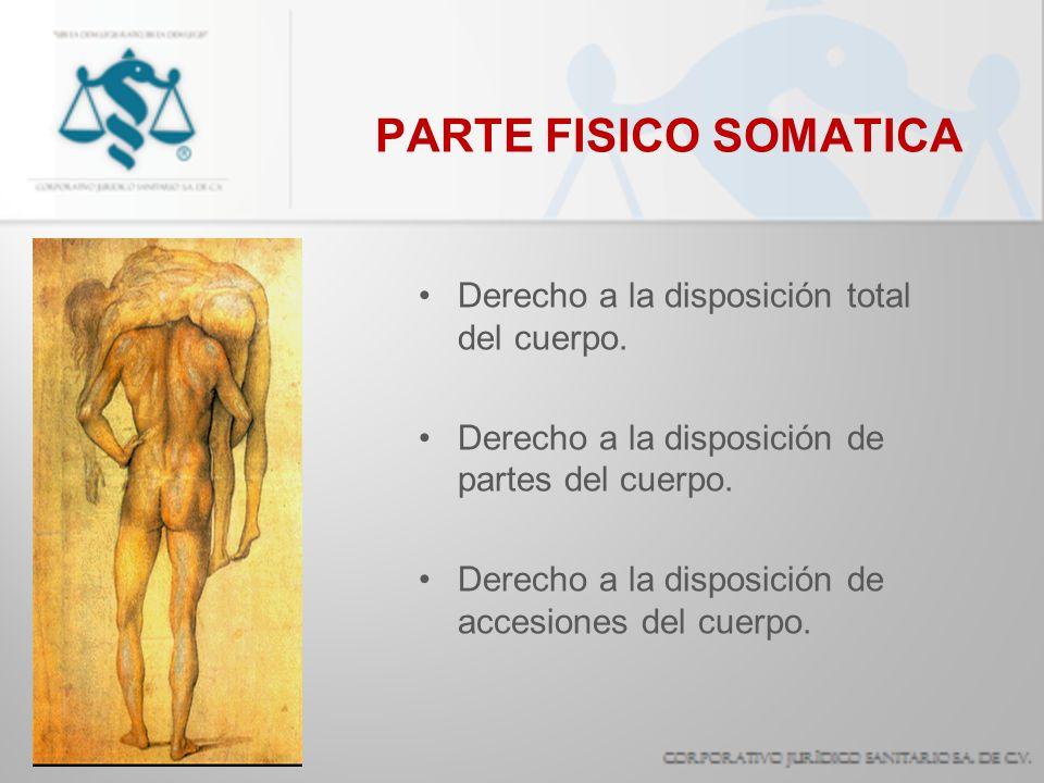 PARTE FISICO SOMATICA Derecho a la disposición total del cuerpo. Derecho a la disposición de partes del cuerpo. Derecho a la disposición de accesiones