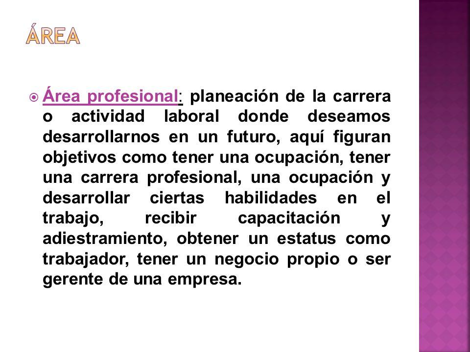 Área profesional: planeación de la carrera o actividad laboral donde deseamos desarrollarnos en un futuro, aquí figuran objetivos como tener una ocupa