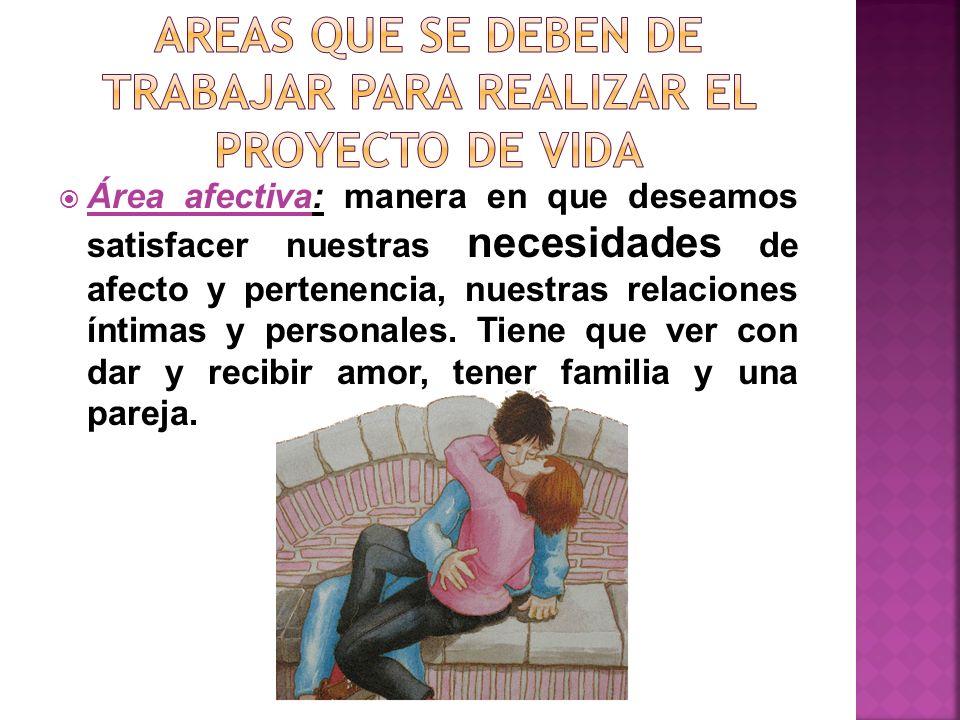 Área afectiva: manera en que deseamos satisfacer nuestras necesidades de afecto y pertenencia, nuestras relaciones íntimas y personales. Tiene que ver