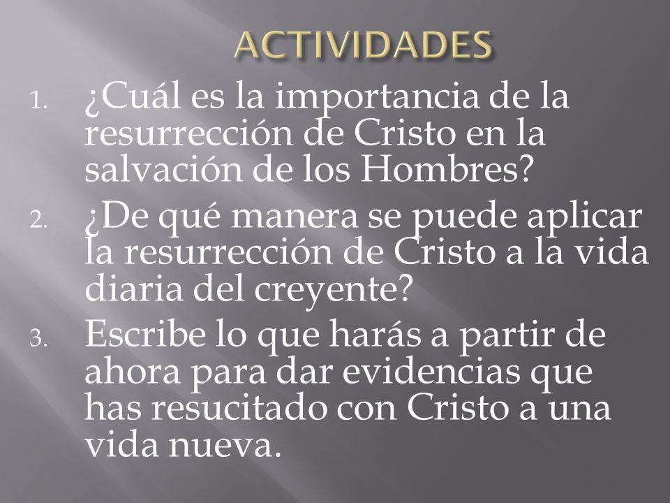 1. ¿Cuál es la importancia de la resurrección de Cristo en la salvación de los Hombres? 2. ¿De qué manera se puede aplicar la resurrección de Cristo a