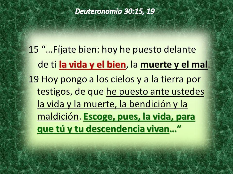 15 …Fíjate bien: hoy he puesto delante la vida y el bien de ti la vida y el bien, la muerte y el mal. Escoge, pues, la vida, para que tú y tu descende