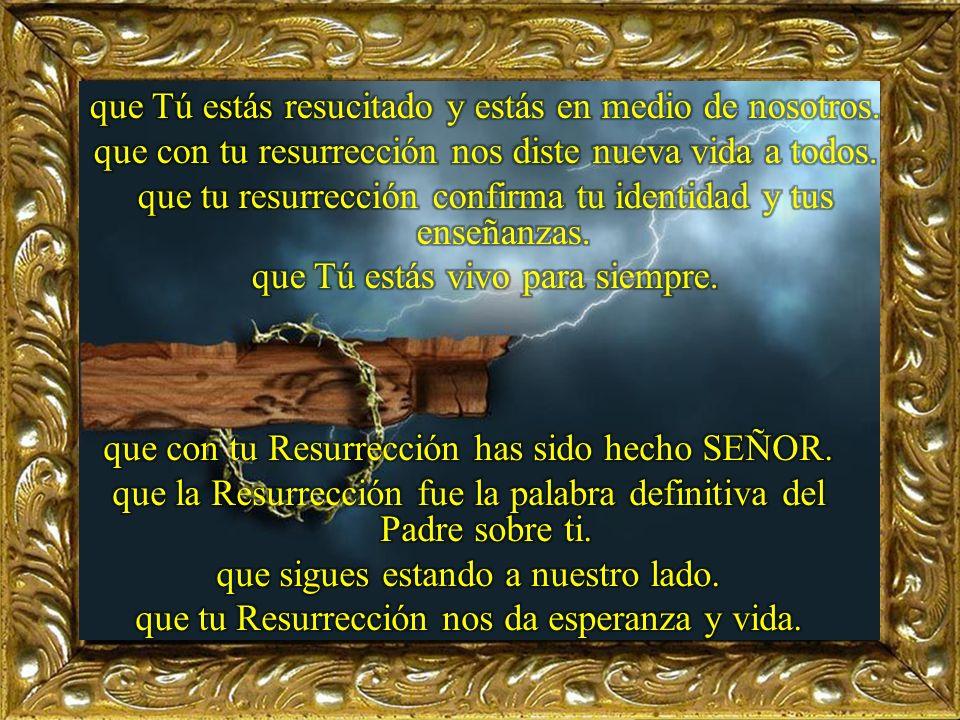 que tu sangre en la cruz fue redentora. que tu muerte fue vida para nosotros. que Tú has vencido a la muerte y estás vivo. que Tú venciste la muerte c