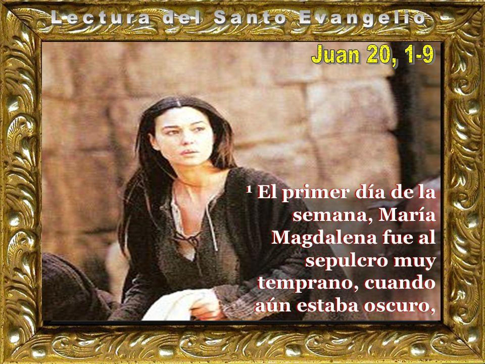 Jn 20,1-9 El primer día de la semana, Mar í a Magdalena fue al sepulcro muy temprano, cuando aún estaba oscuro, y vio la piedra quitada del sepulcro.