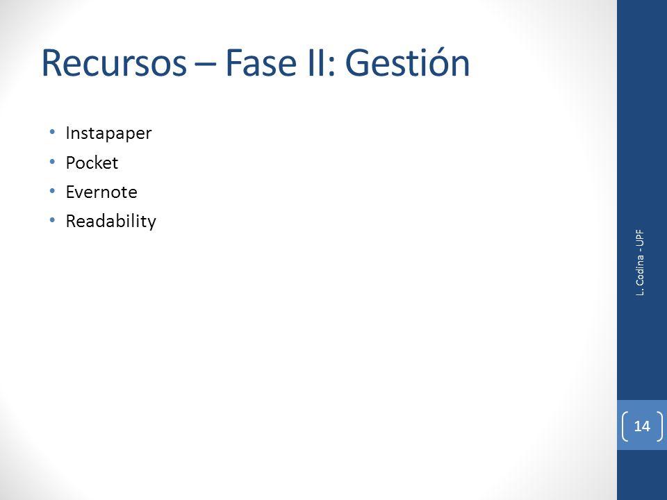 Recursos – Fase II: Gestión Instapaper Pocket Evernote Readability L. Codina - UPF 14