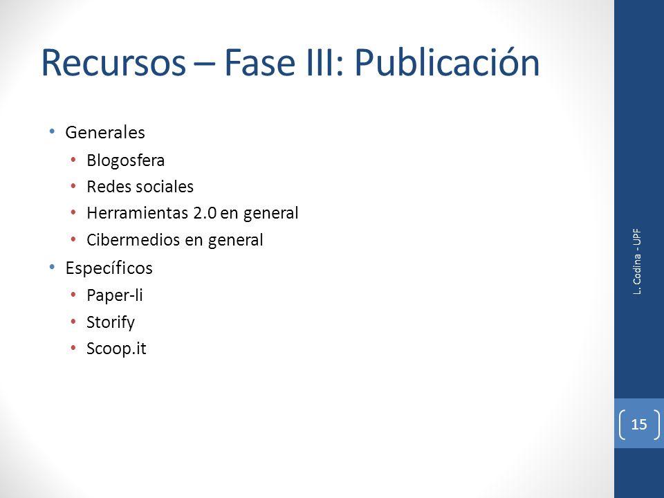 Recursos – Fase III: Publicación Generales Blogosfera Redes sociales Herramientas 2.0 en general Cibermedios en general Específicos Paper-li Storify S