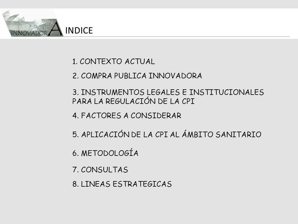 1. CONTEXTO ACTUAL 2. COMPRA PUBLICA INNOVADORA 3. INSTRUMENTOS LEGALES E INSTITUCIONALES PARA LA REGULACIÓN DE LA CPI 5. APLICACIÓN DE LA CPI AL ÁMBI