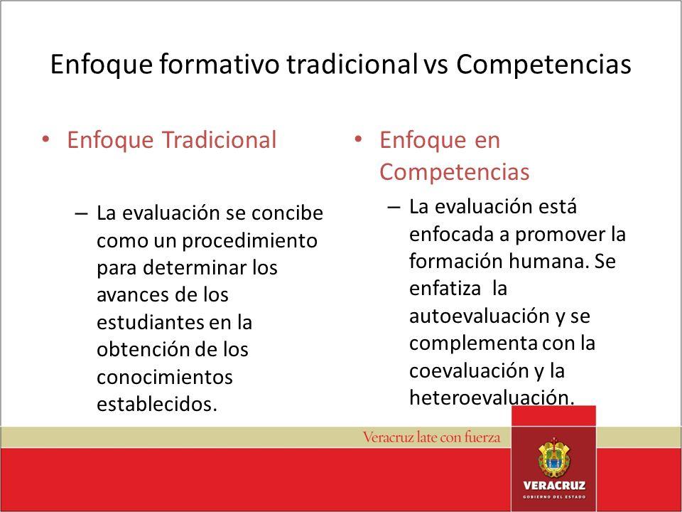 Enfoque formativo tradicional vs Competencias Enfoque Tradicional – La evaluación se concibe como un procedimiento para determinar los avances de los