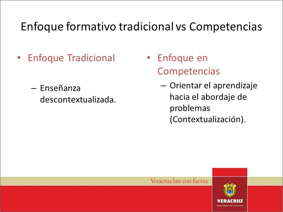 Enfoque formativo tradicional vs Competencias Enfoque Tradicional – Enseñanza descontextualizada. Enfoque en Competencias – Orientar el aprendizaje ha