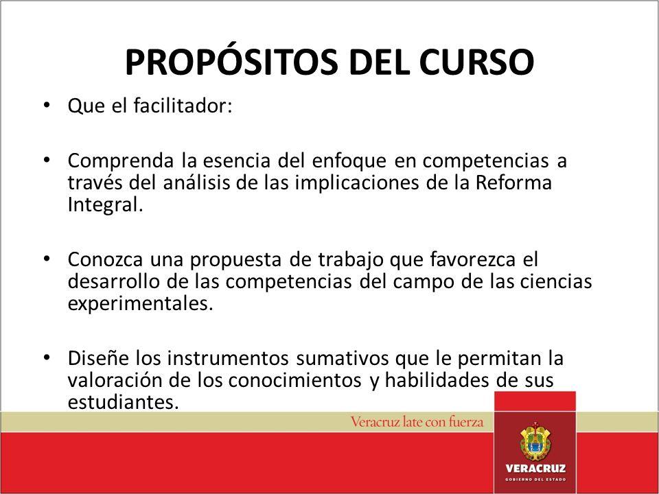 PROPÓSITOS DEL CURSO Que el facilitador: Comprenda la esencia del enfoque en competencias a través del análisis de las implicaciones de la Reforma Int