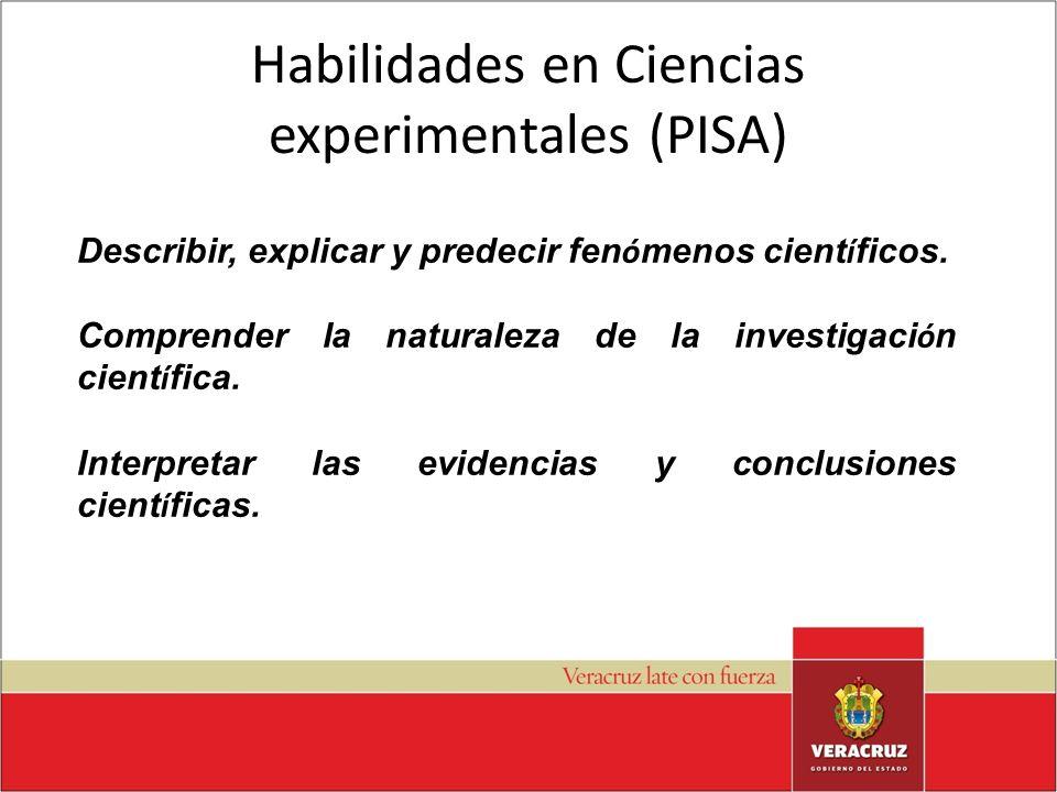 Habilidades en Ciencias experimentales (PISA) Describir, explicar y predecir fen ó menos cient í ficos. Comprender la naturaleza de la investigaci ó n