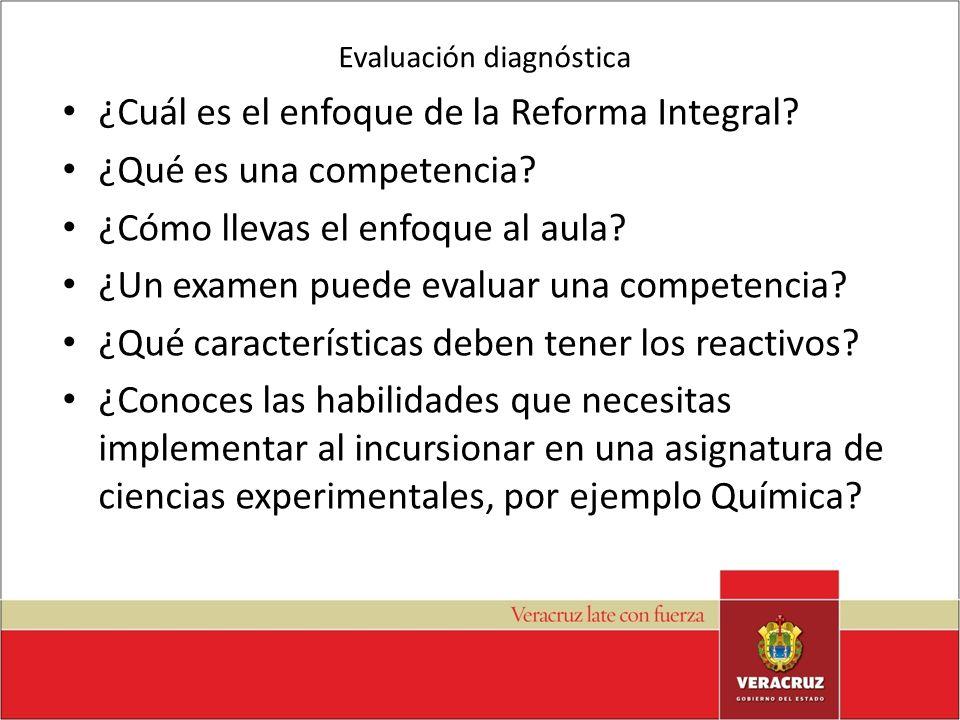 Evaluación diagnóstica ¿Cuál es el enfoque de la Reforma Integral? ¿Qué es una competencia? ¿Cómo llevas el enfoque al aula? ¿Un examen puede evaluar
