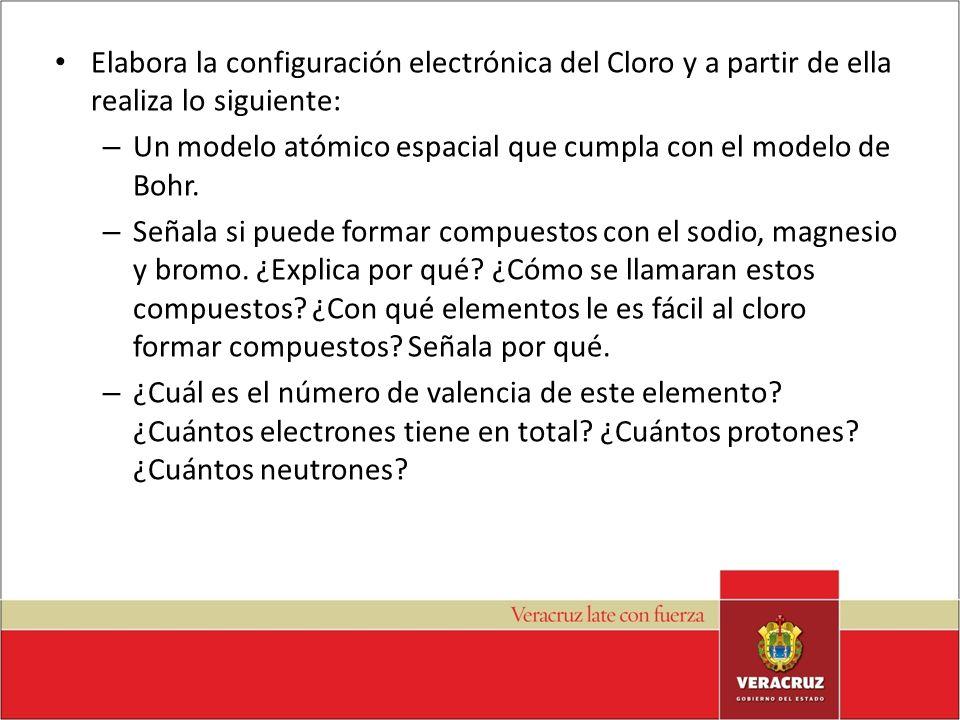 Elabora la configuración electrónica del Cloro y a partir de ella realiza lo siguiente: – Un modelo atómico espacial que cumpla con el modelo de Bohr.