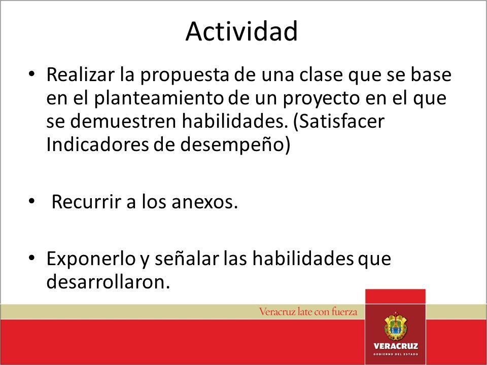 Actividad Realizar la propuesta de una clase que se base en el planteamiento de un proyecto en el que se demuestren habilidades. (Satisfacer Indicador