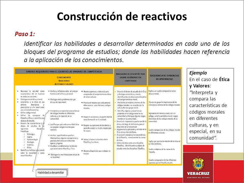 Construcción de reactivos Paso 1: Identificar las habilidades a desarrollar determinados en cada uno de los bloques del programa de estudios; donde la