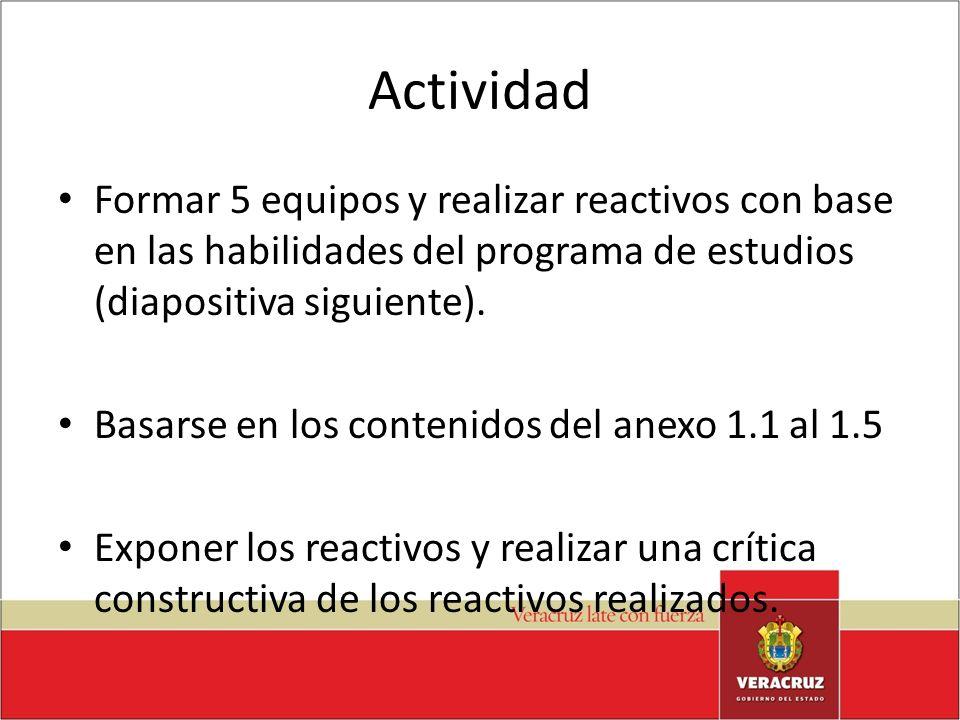Actividad Formar 5 equipos y realizar reactivos con base en las habilidades del programa de estudios (diapositiva siguiente). Basarse en los contenido