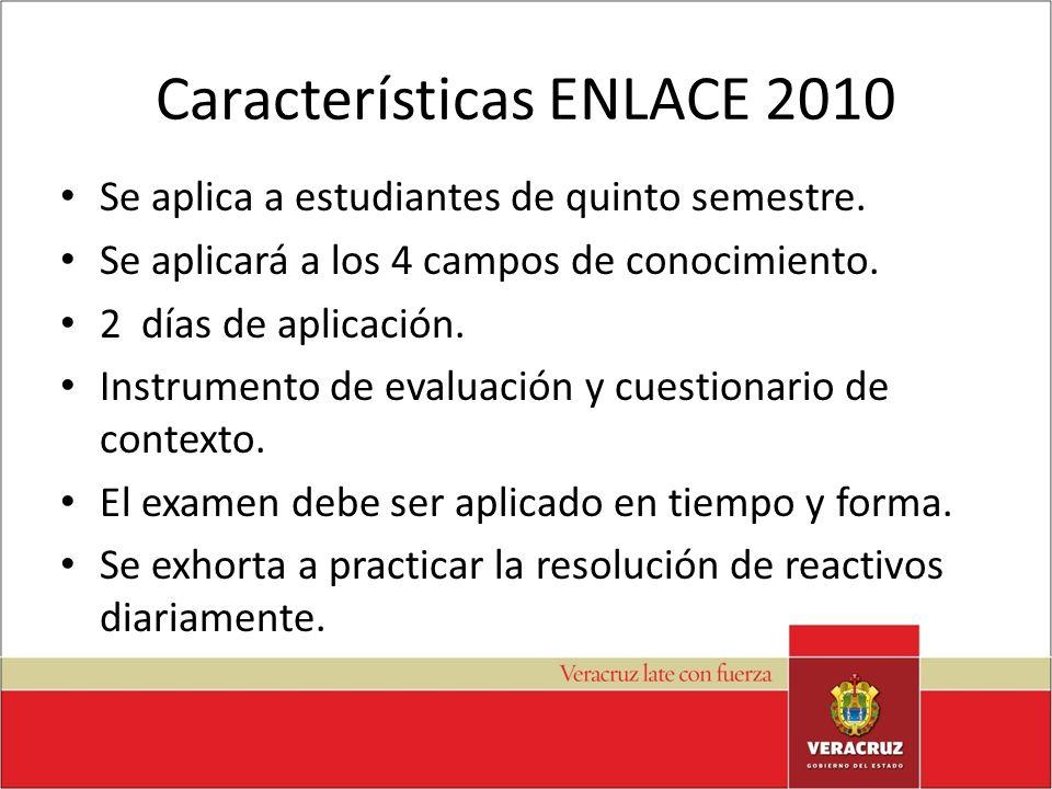 Características ENLACE 2010 Se aplica a estudiantes de quinto semestre. Se aplicará a los 4 campos de conocimiento. 2 días de aplicación. Instrumento