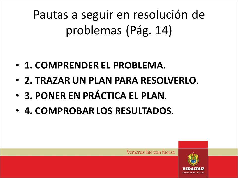 Pautas a seguir en resolución de problemas (Pág. 14) 1. COMPRENDER EL PROBLEMA. 2. TRAZAR UN PLAN PARA RESOLVERLO. 3. PONER EN PRÁCTICA EL PLAN. 4. CO