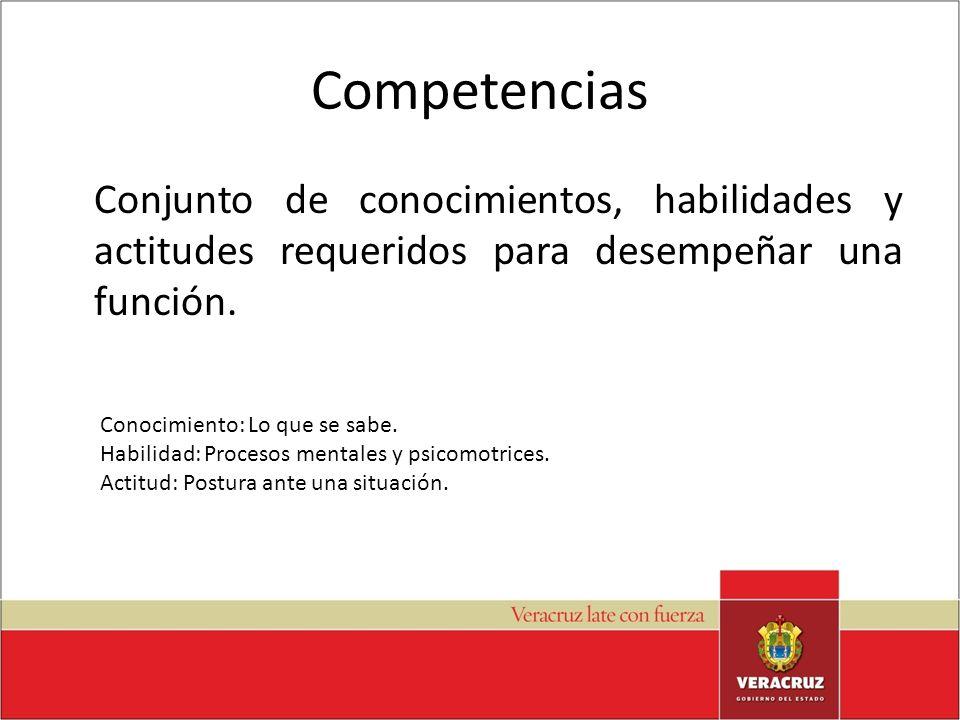 Competencias Conjunto de conocimientos, habilidades y actitudes requeridos para desempeñar una función. Conocimiento: Lo que se sabe. Habilidad: Proce