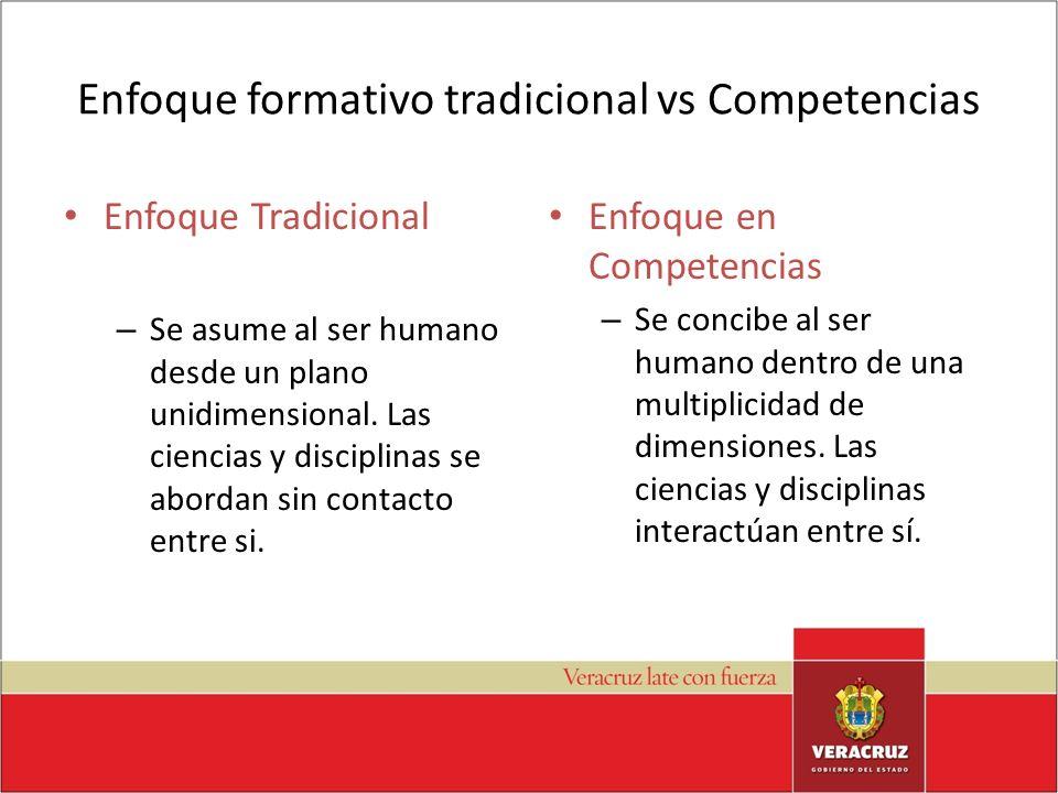 Enfoque formativo tradicional vs Competencias Enfoque Tradicional – Se asume al ser humano desde un plano unidimensional. Las ciencias y disciplinas s
