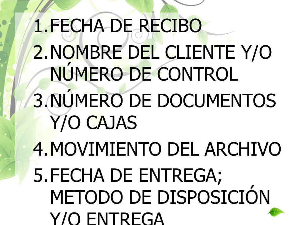 1.FECHA DE RECIBO 2.NOMBRE DEL CLIENTE Y/O NÚMERO DE CONTROL 3.NÚMERO DE DOCUMENTOS Y/O CAJAS 4.MOVIMIENTO DEL ARCHIVO 5.FECHA DE ENTREGA; METODO DE D