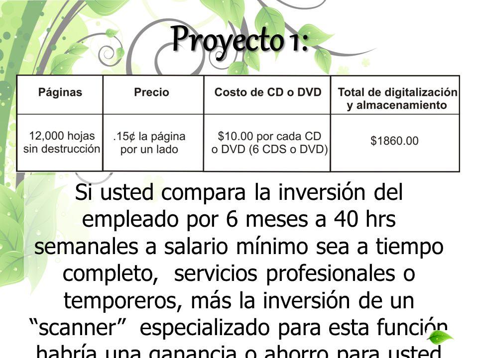Proyecto 1: Si usted compara la inversión del empleado por 6 meses a 40 hrs semanales a salario mínimo sea a tiempo completo, servicios profesionales