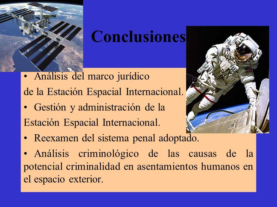 Conclusiones Análisis del marco jurídico de la Estación Espacial Internacional. Gestión y administración de la Estación Espacial Internacional. Reexam