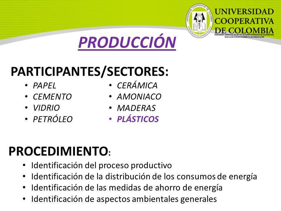 PARTICIPANTES/SECTORES: PAPEL CEMENTO VIDRIO PETRÓLEO PRODUCCIÓN PROCEDIMIENTO : Identificación del proceso productivo Identificación de la distribuci