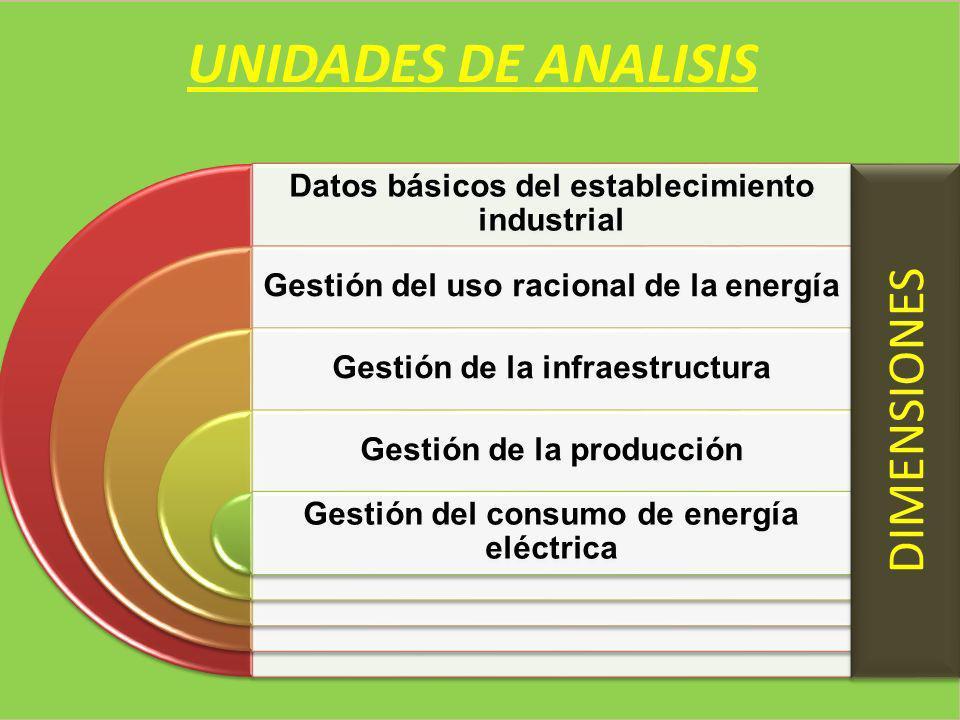 UNIDADES DE ANALISIS Datos básicos del establecimiento industrial Gestión del uso racional de la energía Gestión de la infraestructura Gestión de la p