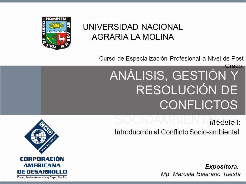 Introducción al Conflicto Socio-ambiental Módulo I: Curso de Especialización Profesional a Nivel de Post Grado: UNIVERSIDAD NACIONAL AGRARIA LA MOLINA