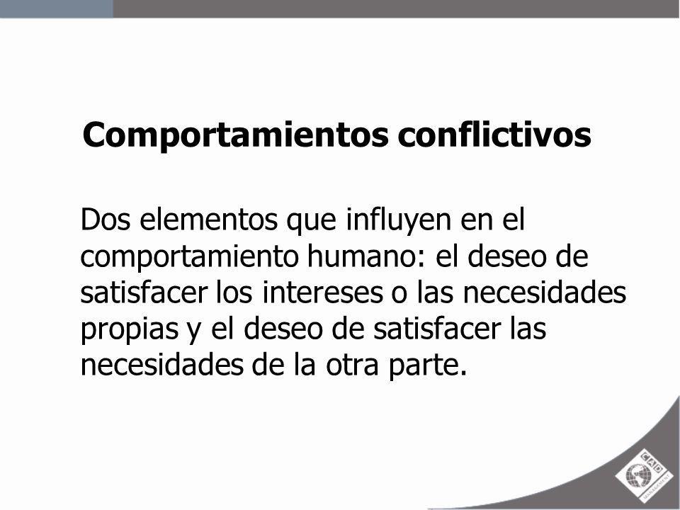 Comportamientos conflictivos Dos elementos que influyen en el comportamiento humano: el deseo de satisfacer los intereses o las necesidades propias y