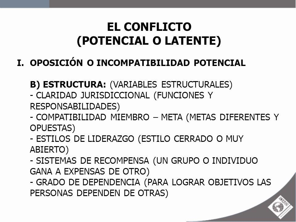 EL CONFLICTO (POTENCIAL O LATENTE) I.OPOSICIÓN O INCOMPATIBILIDAD POTENCIAL B) ESTRUCTURA: (VARIABLES ESTRUCTURALES) - CLARIDAD JURISDICCIONAL (FUNCIO
